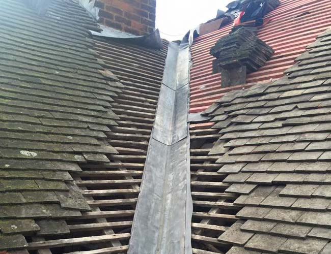 Valley beadwork on roof in process of repair in Kent